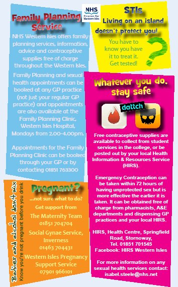 Sexual health promotion leaflets